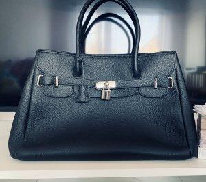 Borse in Pelle Italy Shopper zwart-zilver Leer