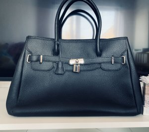 Borse in Pelle Italy Shopper black-silver-colored leather