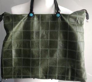 Echt Leder Tasche v. Gabs, Khaki/grün, Patchwork, large, wie Neu