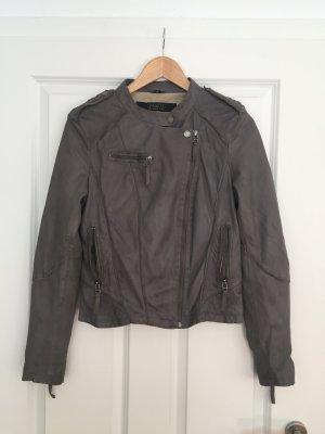 Echt-Lederjacke Bikerjacke grau von Oakwood, Größe M