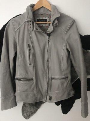 Oakwood Leather Jacket light grey-grey