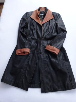 Leather Coat black-cognac-coloured