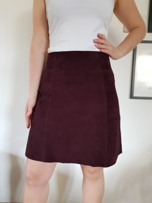 Hallhuber Leather Skirt bordeaux leather