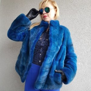Pelzen jack blauw-neon blauw Bont