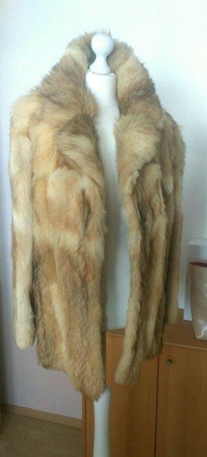 Abrigo de piel marrón-marrón claro Piel