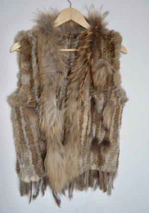 Fur vest bronze-colored