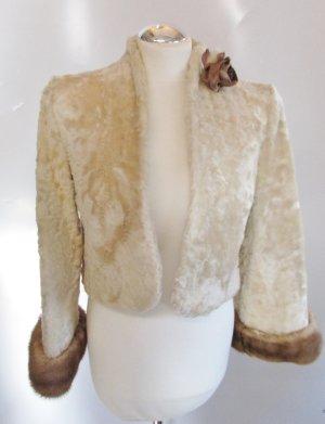 Echt Pelz Zaren Bolero Jacke Größe M 38 Wollweiß Beige Hell Braun Persian Kurzjacke Fur Hochzeit Braut Winterhochzeit