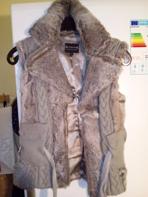 Fur vest anthracite-white fur