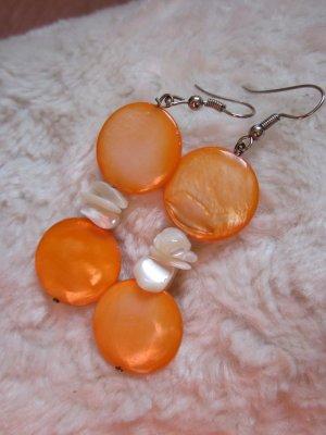 Echt Perlmutt Ohrringe aus Barcelona Orange Weiss Neu
