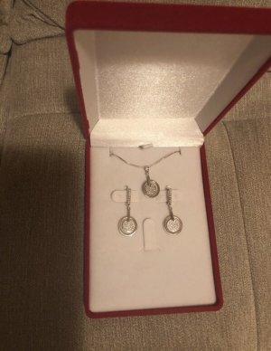 Echt Silber 925 Kette mit Anhänger und Ohrringen Neu