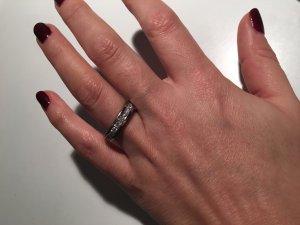 Echt Silber Ring / Bandring mit weißen Swarovski Steinen