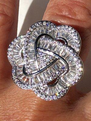 100% Fashion Bague incrustée de pierres argenté-gris clair argent