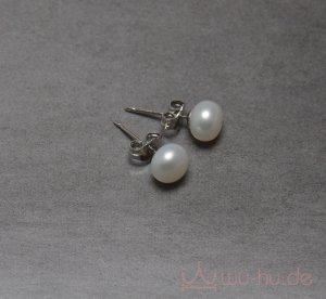 Pendientes de perlas blanco puro