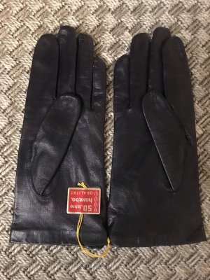 Echt Vintage 70er Damen Lederhandschuhe dunkelblau schwarz Marine Handschuhe Echt Leder 7 haveba