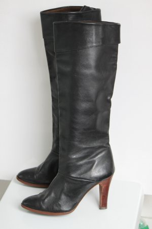 Slouch Boots black-brown leather