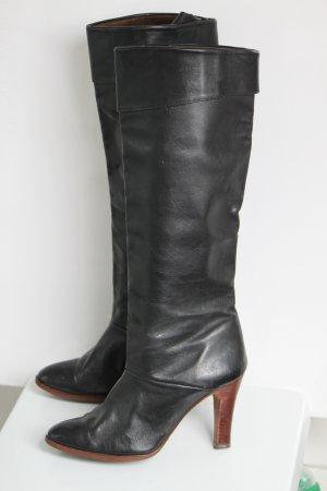 Slappe laarzen zwart-bruin Leer