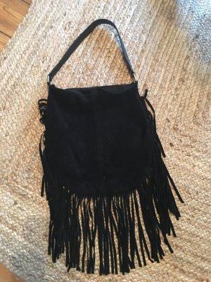 Echt-Wildleder - Fransen- Tasche in schwarz