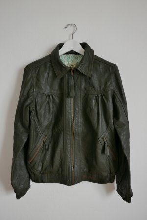 Billabong Leather Jacket dark green leather