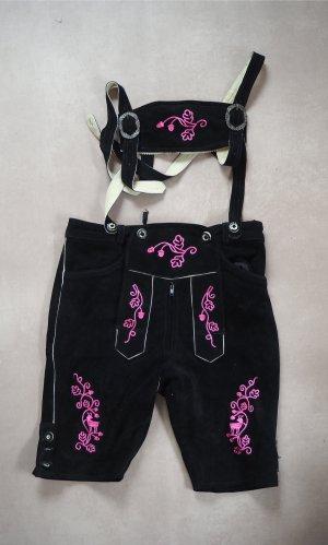 echte Damen-Lederhose mit pinken Stickereien