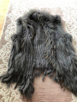 Giacca di pelliccia grigio scuro