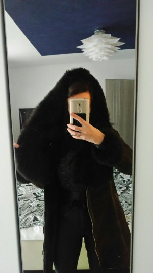 Winterjas zwart-donkerbruin
