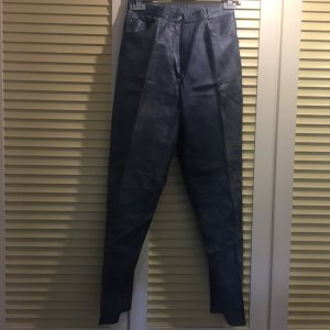 Pantalón de cuero azul celeste-gris pizarra