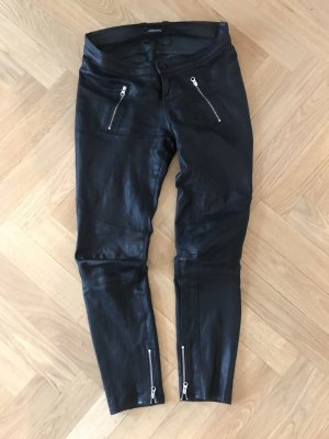 JBRAND Leather Trousers black-silver-colored
