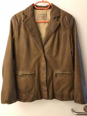 Leather Coat cognac-coloured
