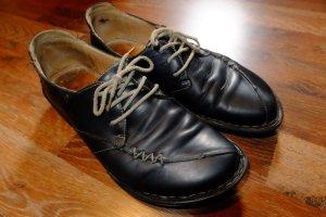 echte Lederschuhe Gr. 36 - schwarz mit beiger Naht