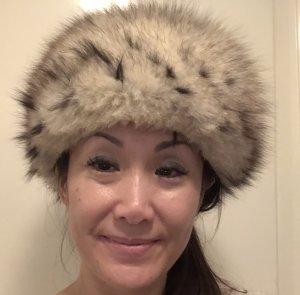 Sombrero de piel negro-blanco