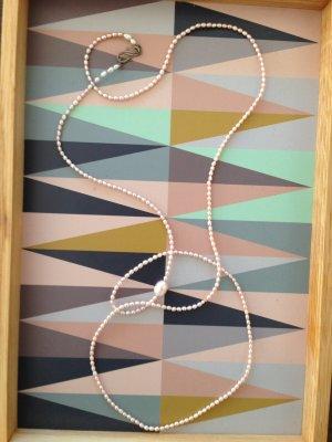 Echte Perlenkett, Unikat, rosafarben, 106 cm