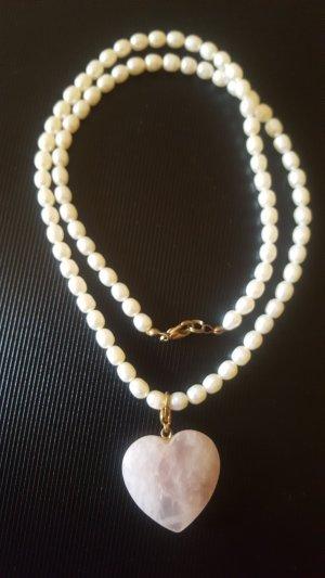 Collar de perlas rosa-blanco puro