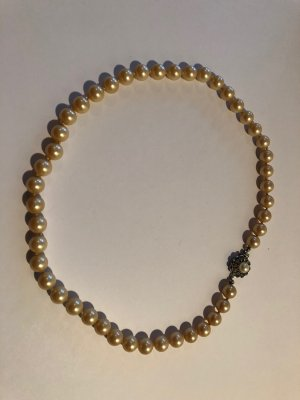 Echte Perlenkette, Vintage, antik, sehr guter Zustand, creme-farben