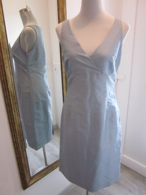 Echte Seide Kleid Hellblau Taube Gr 40 Etuie