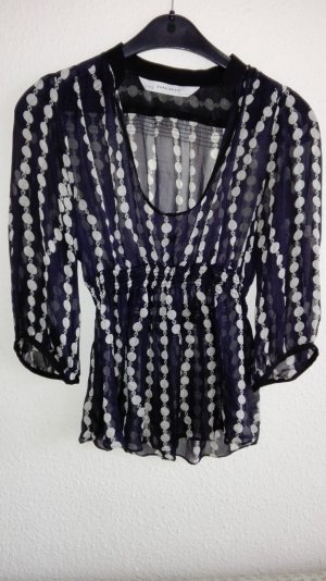 Echte Seiden Bluse von Zara Shirt schwarz weiß luxus wie neu sehr hochwertig verarbeitet Abendgarderobe