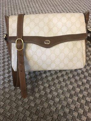 Echte Vintage Gucci Tasche Leder & Canvas Unhängetasche braun beige