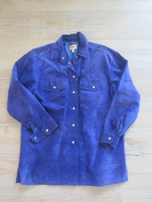 Echte Wildleder Blouson - Hemd in blau Gr. 38/40 Lederjacke