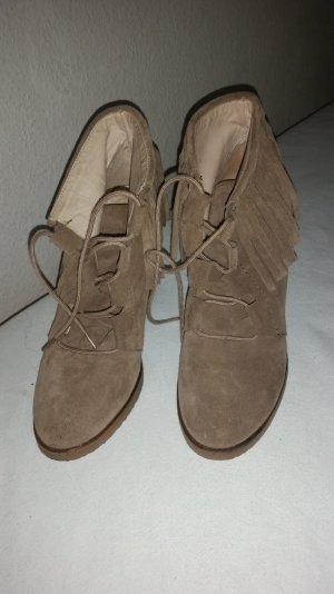 Echte Wildleder Booties Ankle Boots mit Fransen