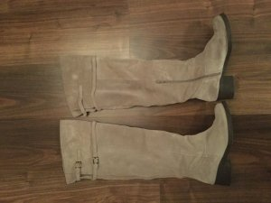 Overknees silver-colored suede