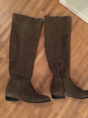 Görtz Wide Calf Boots green grey suede