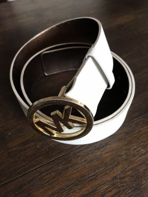 Michael Kors Leather Belt natural white-gold-colored
