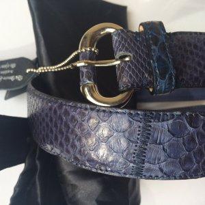 Echter Python-Ledergürtel in Blau/Violett, ovale silberne Schnalle, Gr. S