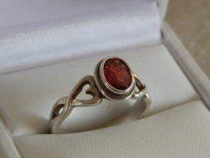 Zilveren ring zilver-bordeaux