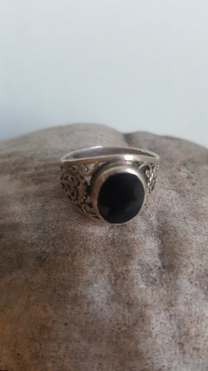 Silver Ring black-silver-colored real silver