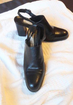 Echtes Leder Made in Italy Halbschuhe Slingback Sandalen Gr. 40 in Schwarz