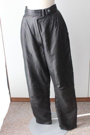 Echtes Leder schwarz lang Lederhose Gr. 40 Seitentaschen