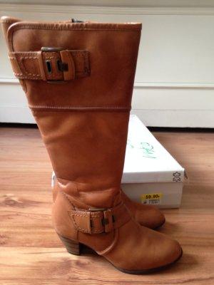 Echtes Leder Stiefel in Braun