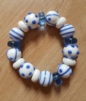 Echtes Murano Glas Armband aus Venedig Weiß Blau