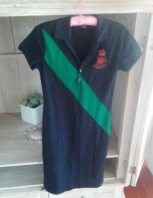 echtes Ralph Lauren Vintage Tenniskleid, dunkelblau mit grünem Streifen und Logo