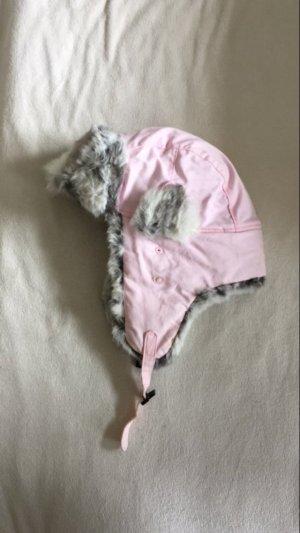 Buffalo London Chapeau d'aviateur rose clair-blanc cassé pelage